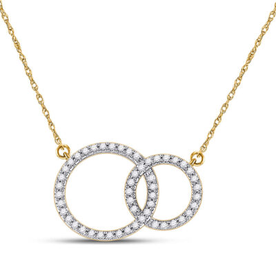10kt Yellow Gold Womens Round Diamond Double Circle Necklace 1/6 Cttw