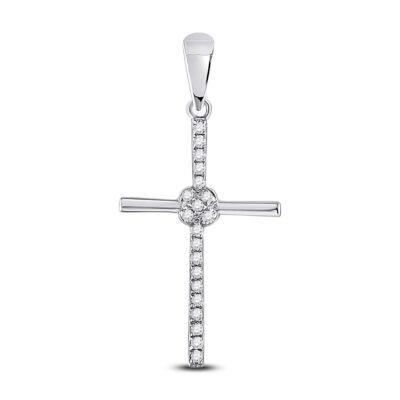 10kt White Gold Womens Round Diamond Cross Pendant 1/12 Cttw