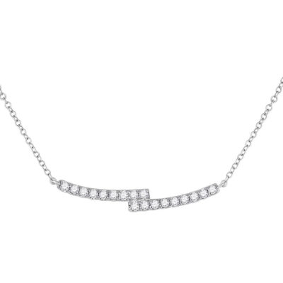 14kt White Gold Womens Round Diamond Curved Bypass Bar Necklace 1/2 Cttw