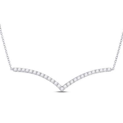 14kt White Gold Womens Round Diamond Fashion Chevron Bar Necklace 1 Cttw