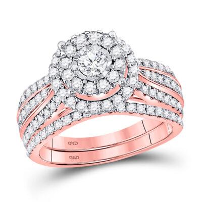 10kt Rose Gold Round Diamond Bridal Wedding Ring Band Set 1-1/4 Cttw