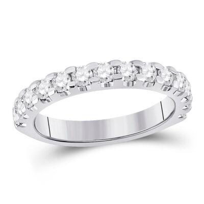 14kt White Gold Womens Round Diamond Single Row Anniversary Ring 1 Cttw