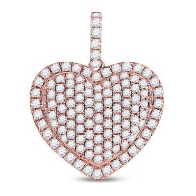 14kt Rose Gold Womens Round Diamond Fashion Heart Pendant 1-1/4 Cttw