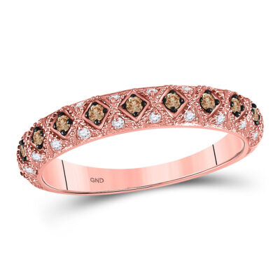 10kt Rose Gold Womens Round Brown Diamond Anniversary Band Ring 1/3 Cttw