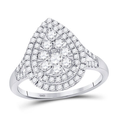14kt White Gold Womens Round Diamond Fashion Pear Cluster Ring 1 Cttw