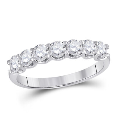 14kt White Gold Womens Round Diamond Classic Anniversary Band Ring 1 Cttw