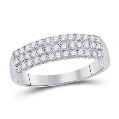 14kt White Gold Womens Round Diamond Classic Anniversary Ring 1/2 Cttw