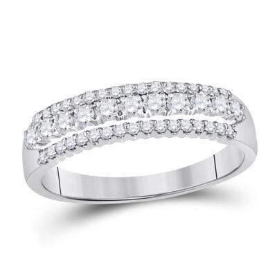 14kt White Gold Womens Round Diamond Classic Anniversary Band Ring 1/2 Cttw