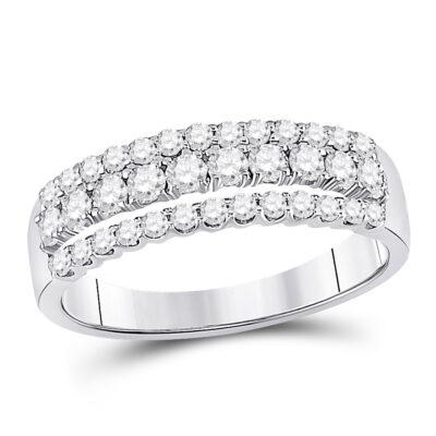 14kt White Gold Womens Round Diamond Classic Anniversary Band Ring 3/4 Cttw