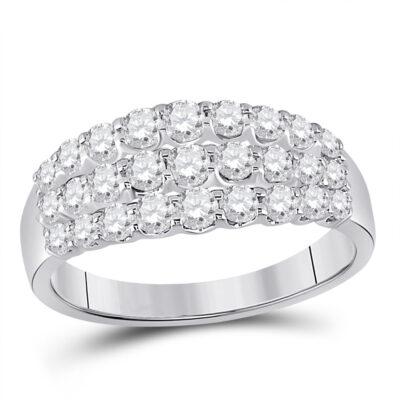 14kt White Gold Womens Round Diamond Anniversary Band Ring 1 Cttw