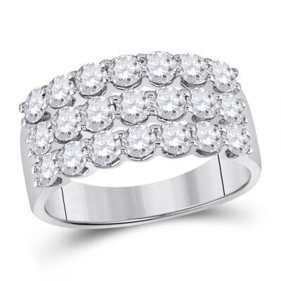 14kt White Gold Womens Round Diamond Anniversary Band Ring 2 Cttw