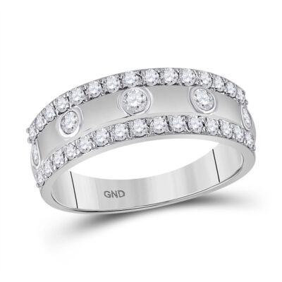 10kt White Gold Womens Round Diamond Anniversary Ring 3/4 Cttw