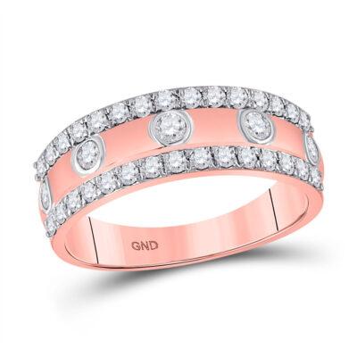 10kt Rose Gold Womens Round Diamond Anniversary Ring 3/4 Cttw