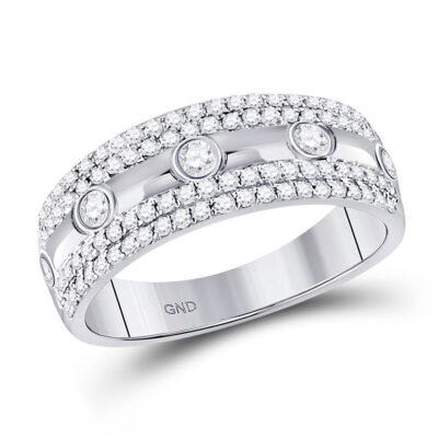 10kt White Gold Womens Round Diamond Anniversary Ring 1/2 Cttw
