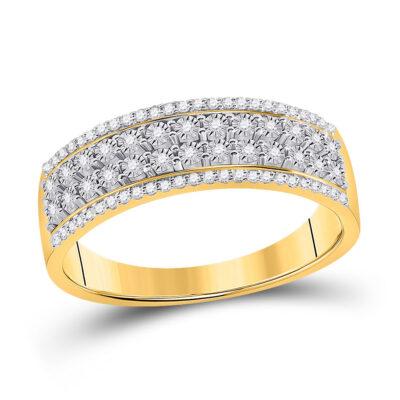 10kt Yellow Gold Womens Round Diamond Anniversary Band Ring 1/6 Cttw