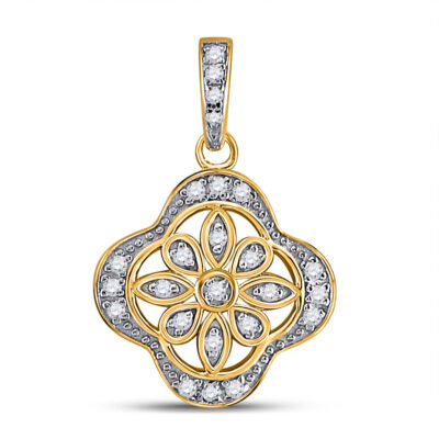 Yellow-tone Sterling Silver Womens Round Diamond Floral Fashion Pendant 1/10 Cttw