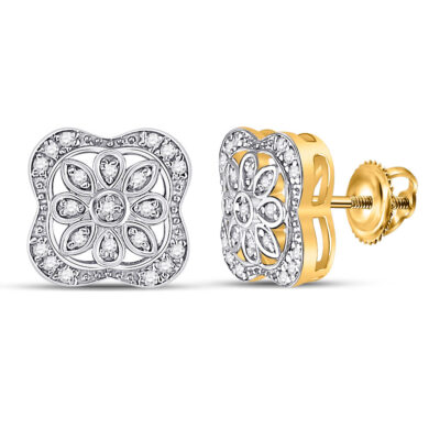 Yellow-tone Sterling Silver Womens Round Diamond Floral Fashion Earrings 1/8 Cttw