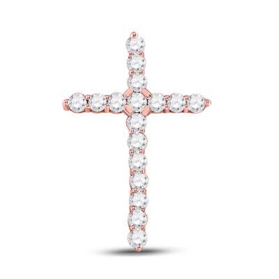14kt Rose Gold Womens Round Diamond Cross Pendant 1/2 Cttw