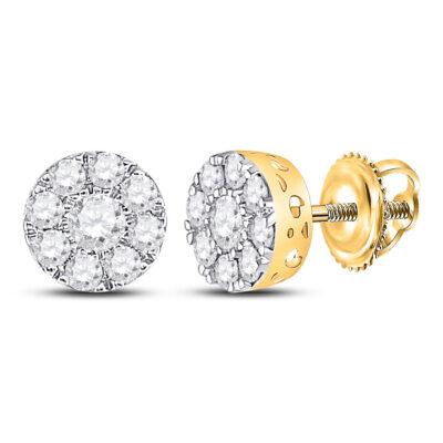 10kt Yellow Gold Womens Round Diamond Flower Cluster Earrings 3/4 Cttw