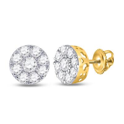 14kt Yellow Gold Womens Round Diamond Flower Cluster Earrings 3/4 Cttw