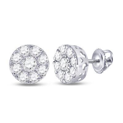 14kt White Gold Womens Round Diamond Flower Cluster Earrings 1-3/8 Cttw