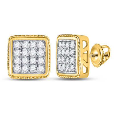 14kt Yellow Gold Mens Round Diamond Square Earrings 3/4 Cttw