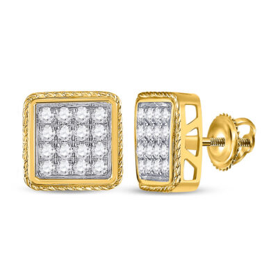 10kt Yellow Gold Mens Round Diamond Square Cluster Earrings 1 Cttw