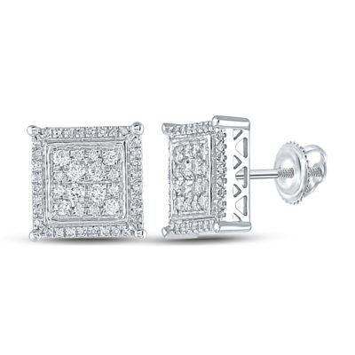 14kt White Gold Mens Round Diamond Square Earrings 1/2 Cttw
