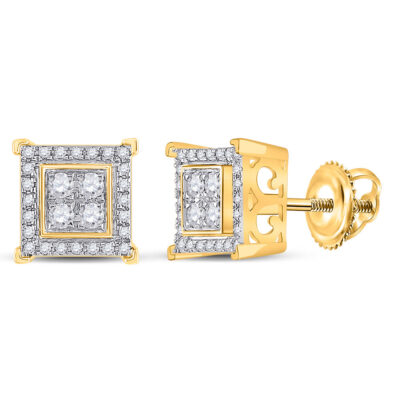 14kt Yellow Gold Mens Round Diamond Square Earrings 1/3 Cttw