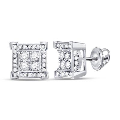 14kt White Gold Mens Round Diamond Square Earrings 1/3 Cttw