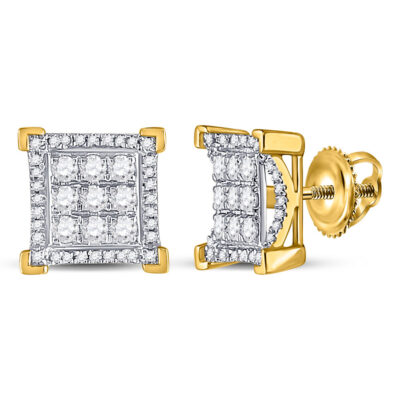 10kt Yellow Gold Mens Round Diamond Fashion Cluster Earrings 3/4 Cttw