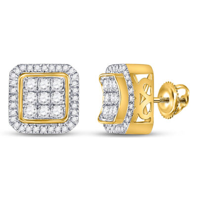 10kt Yellow Gold Mens Round Diamond Square Cluster Earrings 7/8 Cttw