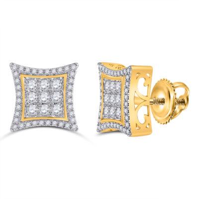 10kt Yellow Gold Mens Round Diamond Kite Cluster Earrings 1 Cttw