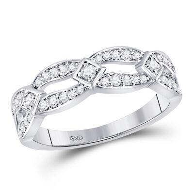 10kt White Gold Womens Round Diamond Fashion Band Ring 1/3 Cttw