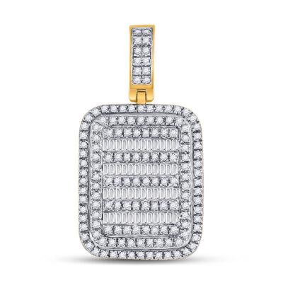 10kt Yellow Gold Mens Baguette Diamond Rectangle Charm Pendant 3/4 Cttw