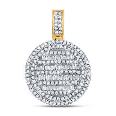 10kt Yellow Gold Mens Baguette Diamond Circle Charm Pendant 3/4 Cttw
