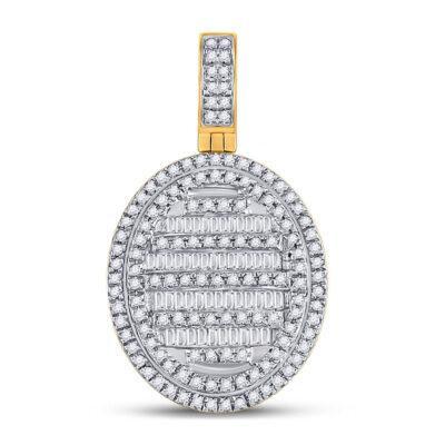 10kt Yellow Gold Mens Baguette Diamond Oval Charm Pendant 3/4 Cttw
