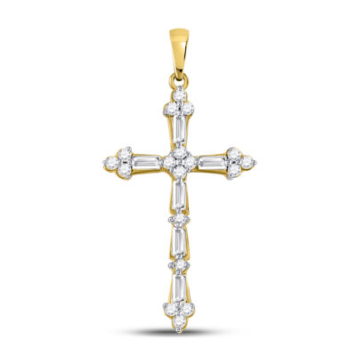 10kt Yellow Gold Womens Round Baguette Diamond Cross Pendant 1/2 Cttw