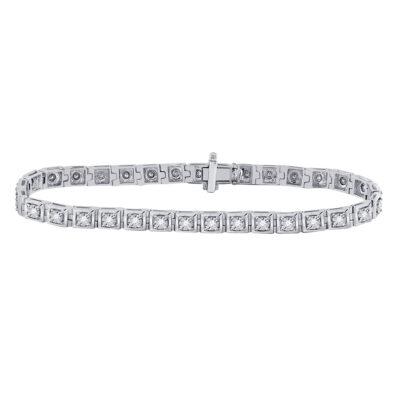 10kt White Gold Womens Round Diamond Fashion Tennis Bracelet 3/4 Cttw