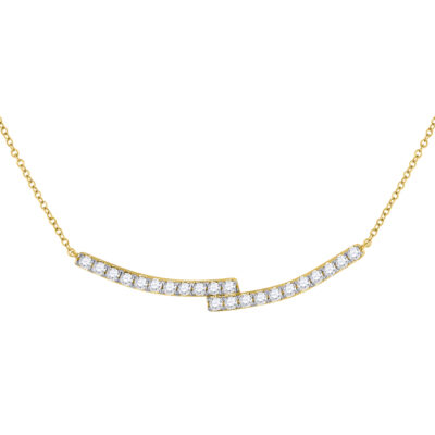 14kt Yellow Gold Womens Round Diamond Curved Bypass Bar Necklace 1 Cttw