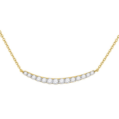 14kt Yellow Gold Womens Round Diamond Curved Bar Necklace 3/4 Cttw