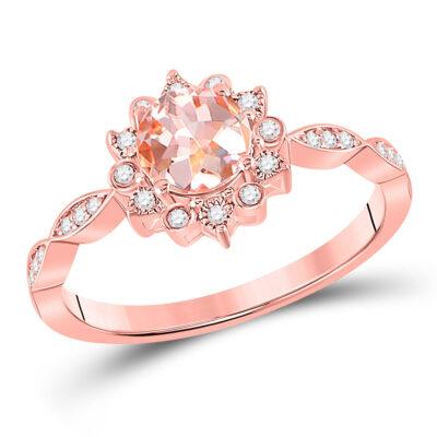 10kt Rose Gold Womens Round Morganite Starburst Solitaire Ring 3/4 Cttw