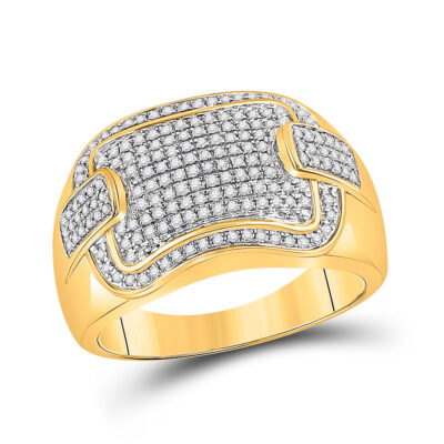 10kt Yellow Gold Mens Round Diamond Fashion Cluster Ring 1/2 Cttw