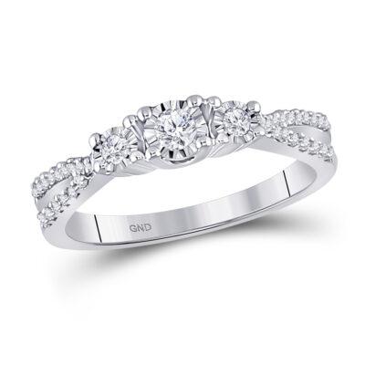 10kt White Gold Round Diamond 3-stone Bridal Wedding Engagement Ring 1/3 Cttw