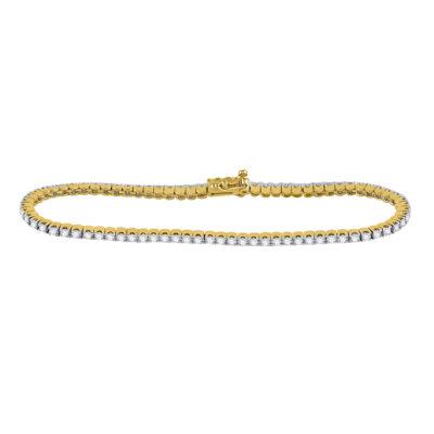 14kt Yellow Gold Womens Round Diamond Classic Tennis Bracelet 2 Cttw