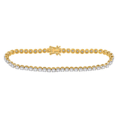 14kt Yellow Gold Womens Round Diamond Studded Tennis Bracelet 1 Cttw