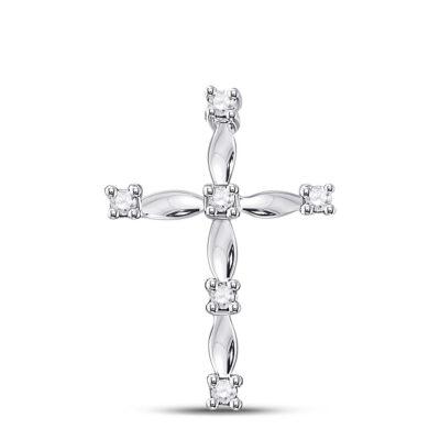 10kt White Gold Womens Round Diamond Cross Pendant 1/20 Cttw