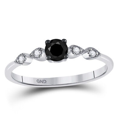 10kt White Gold Round Black Color Enhanced Diamond Solitaire Bridal Wedding Ring 1/3 Cttw