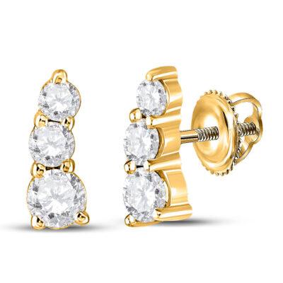 10kt Yellow Gold Womens Round Diamond Fashion 3-stone Earrings 1/2 Cttw