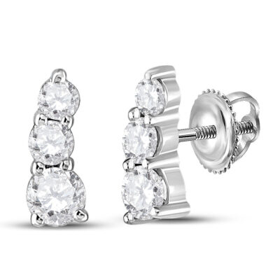 10kt White Gold Womens Round Diamond Fashion 3-stone Earrings 1/2 Cttw